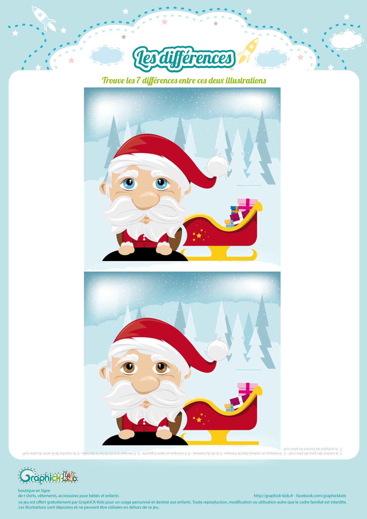 L'activité Du Mercredi : Les Différences Du Père Noël encequiconcerne Jeux Gratuits De Différences