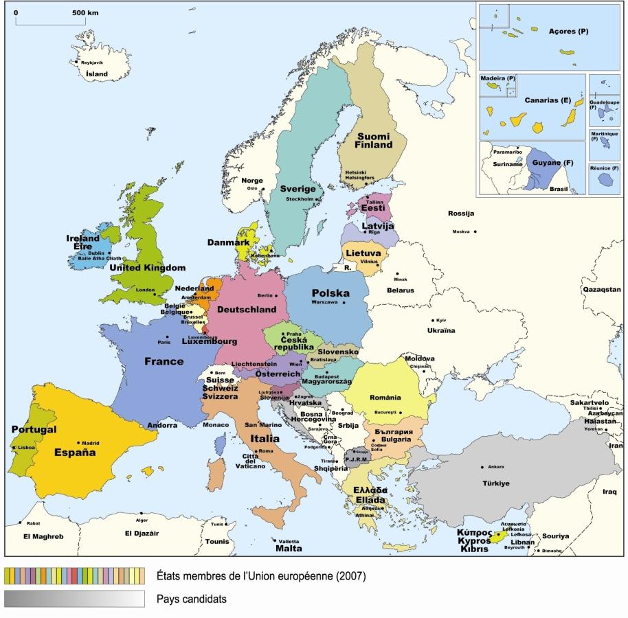 L'alsace Et L'europe En Lignerepères Cartographiques encequiconcerne Carte Pays Membre De L Ue