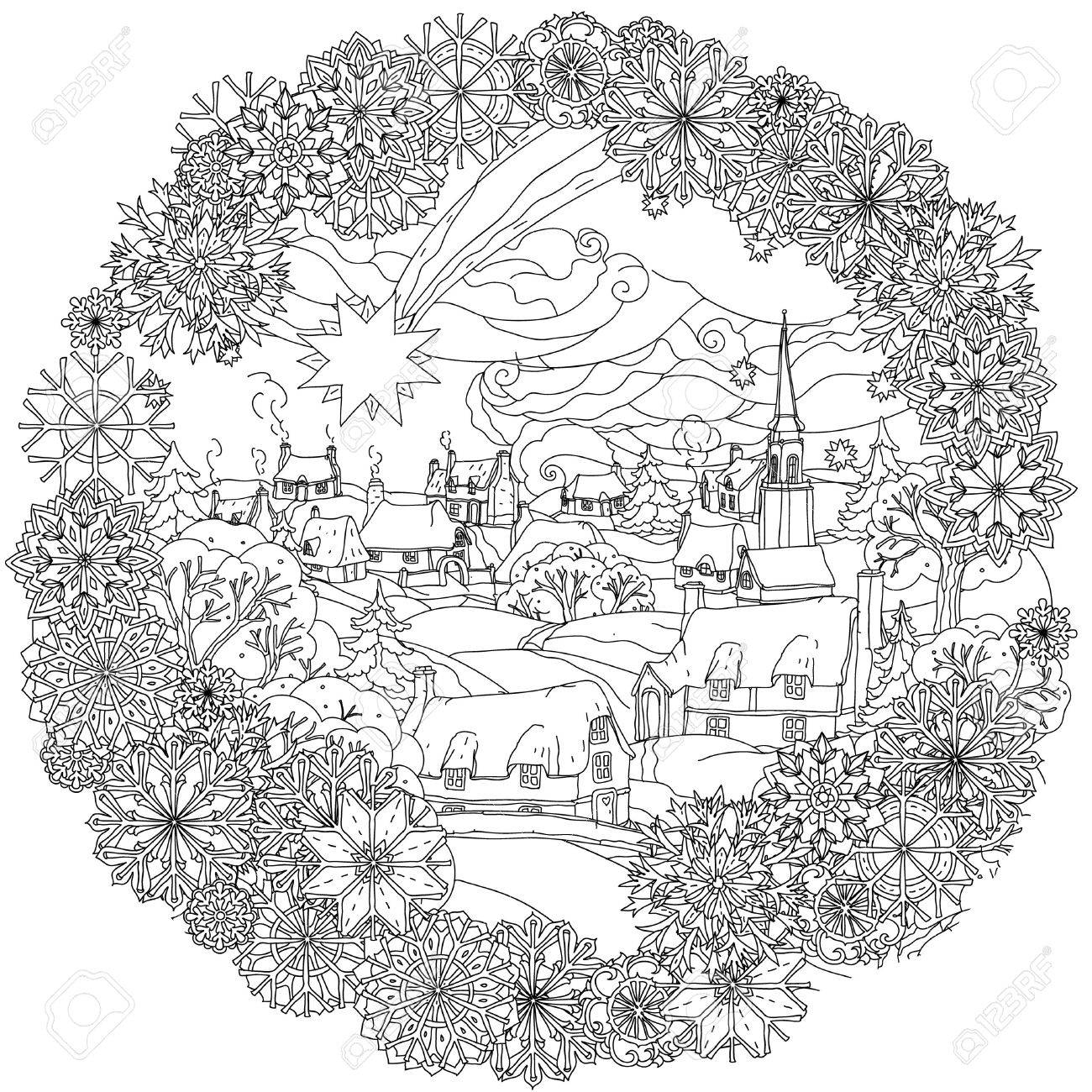 Landskape De Noël Avec L'étoile Survole Village D'hiver, Dans Le Cadre Des  Flocons De Neige, Noir Et Blanc. Bagouts Zentangle. Le Meilleur Pour Votre intérieur Coloriage Village De Noel