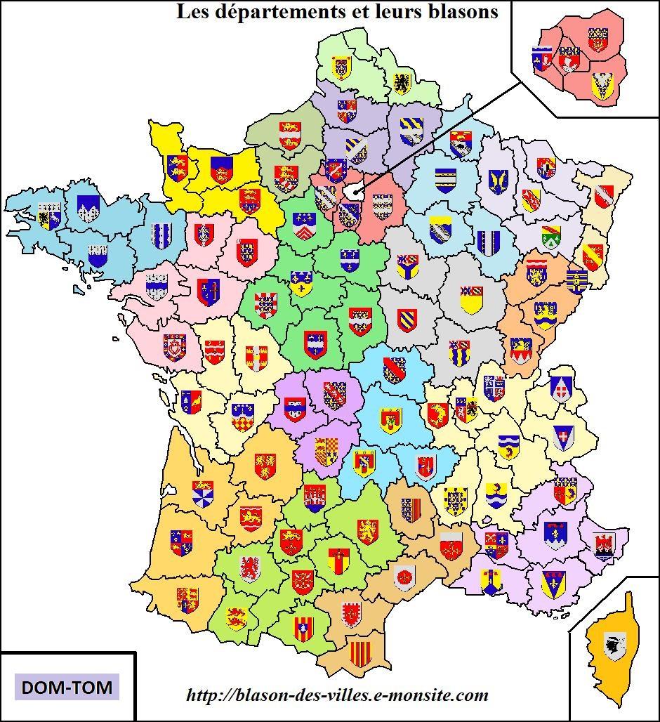 L'armorial à Carte Des Départements Et Villes