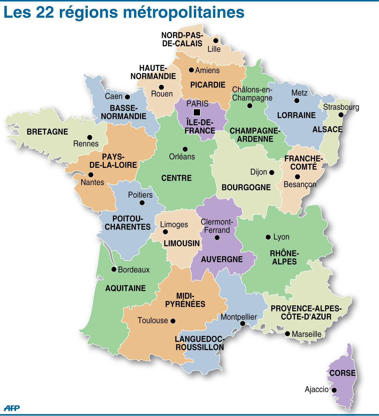 Le 22 Regions De La France encequiconcerne Les 22 Régions De France Métropolitaine