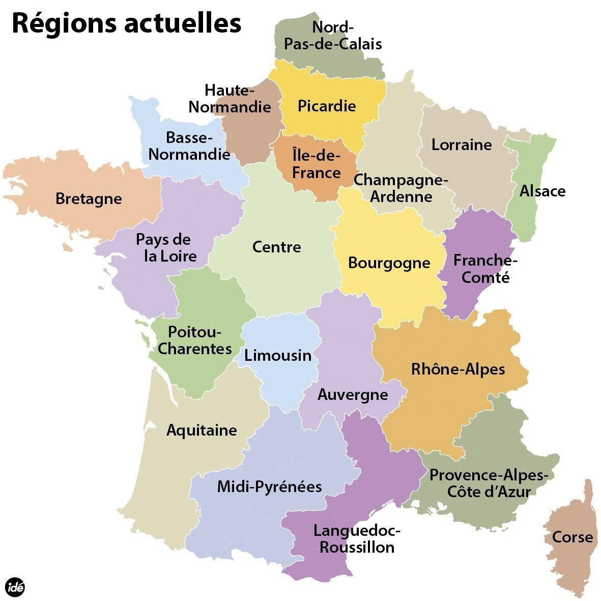 Le 22 Regions De La France tout Carte Des 22 Régions