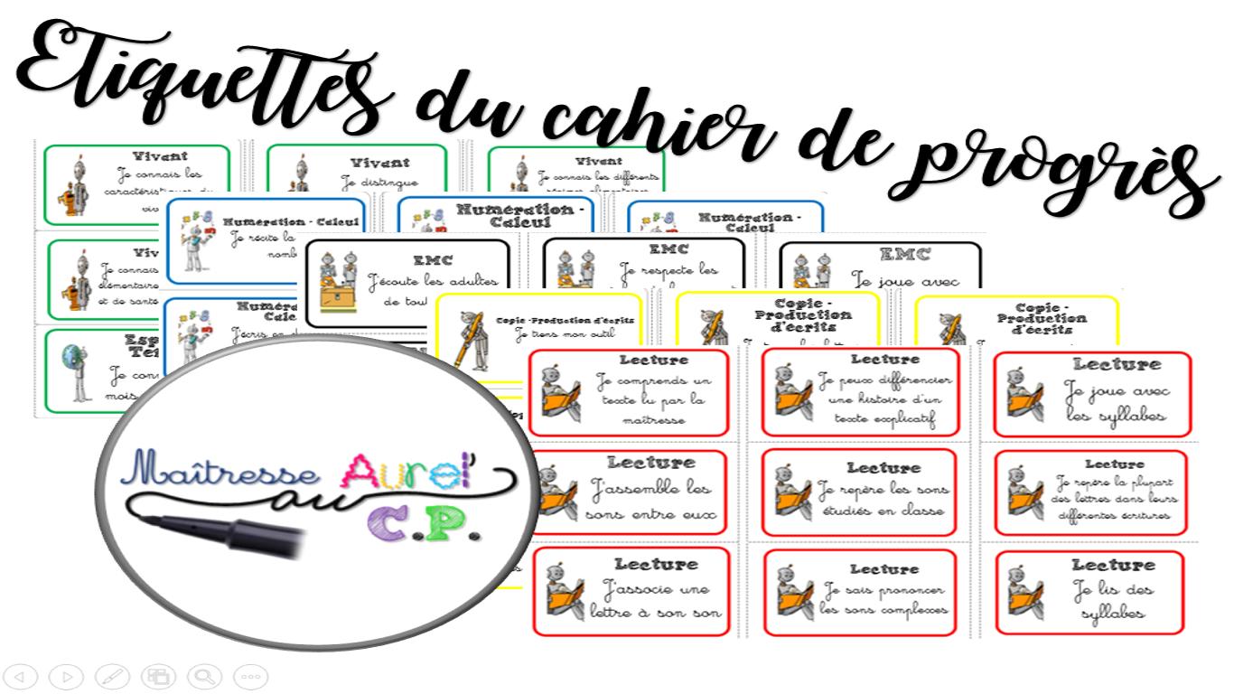 Le Cahier De Progrès - Maitresse Aurel à Etiquette Scolaire Personnalisé Gratuit
