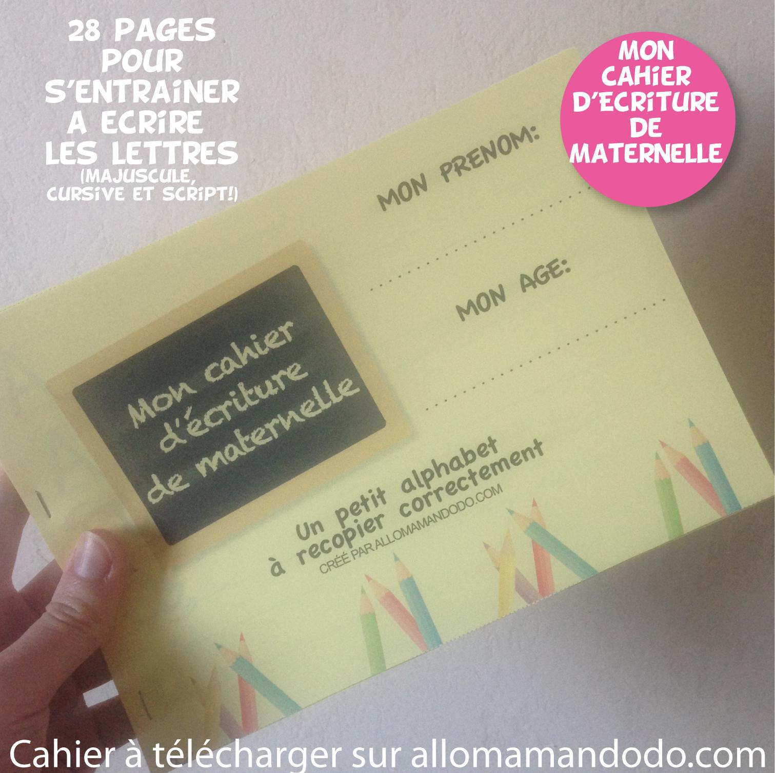 Le Cahier D'écriture De Maternelle À Télécharger ( Gratuit destiné Cahier D Écriture Maternelle