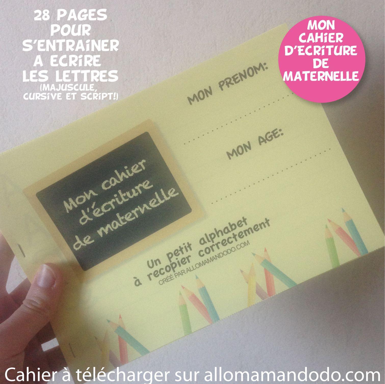 Le Cahier D'écriture De Maternelle À Télécharger ( Gratuit tout Cahier De Vacances À Télécharger Gratuitement