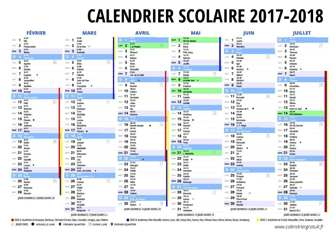 Le Calendrier Scolaire 2017-2018 À Imprimer - Bdm avec Imprimer Un Calendrier 2017
