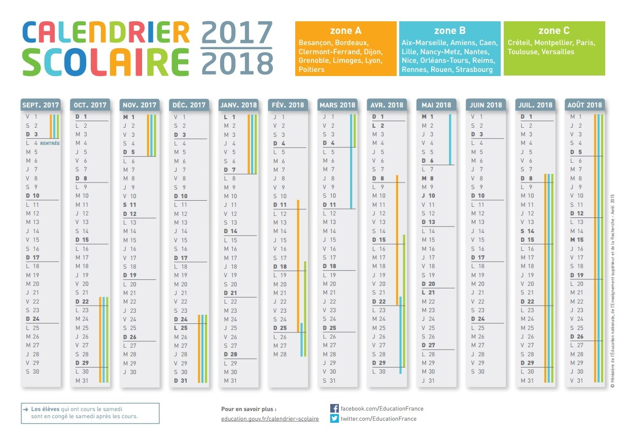 Le Calendrier Scolaire 2017-2018 À Imprimer - Bdm destiné Agenda 2018 À Imprimer Gratuit