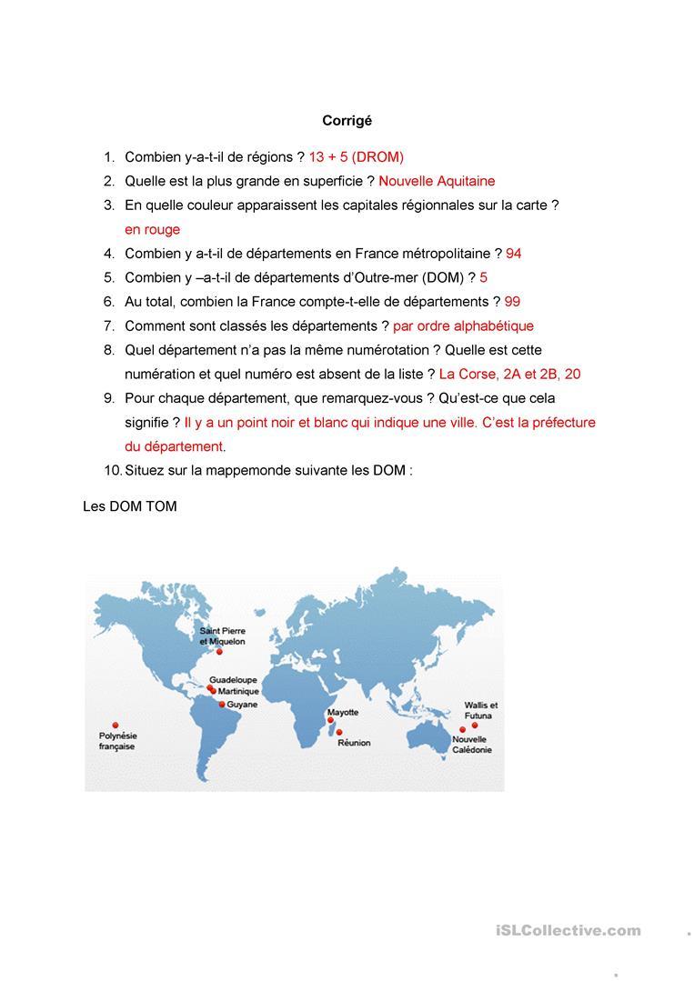 Le Découpage Administratif De La France - Français Fle pour Le Découpage Administratif De La France