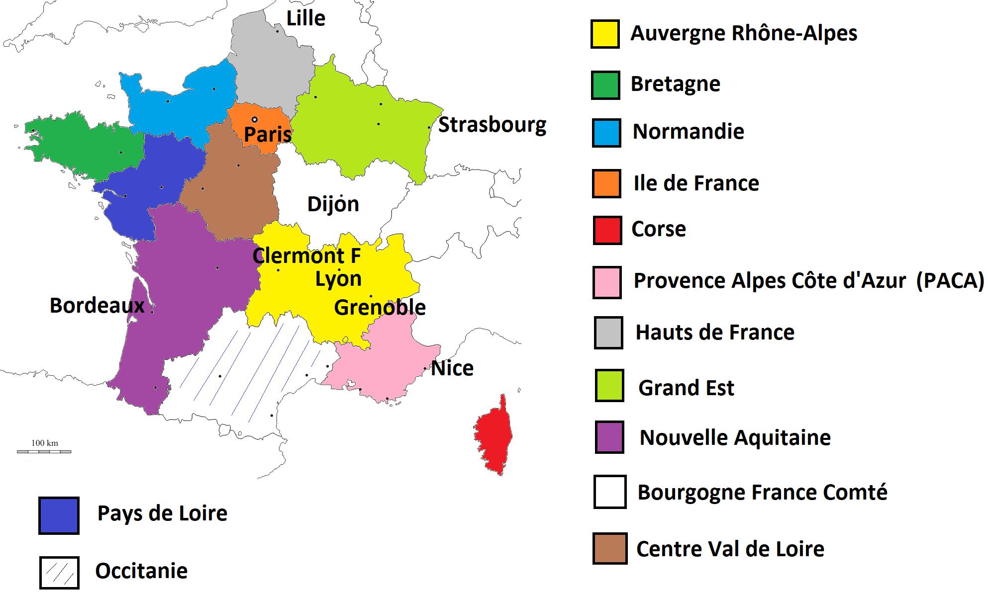 Le Découpage Administratif De La France : Les Régions De La pour Le Découpage Administratif De La France