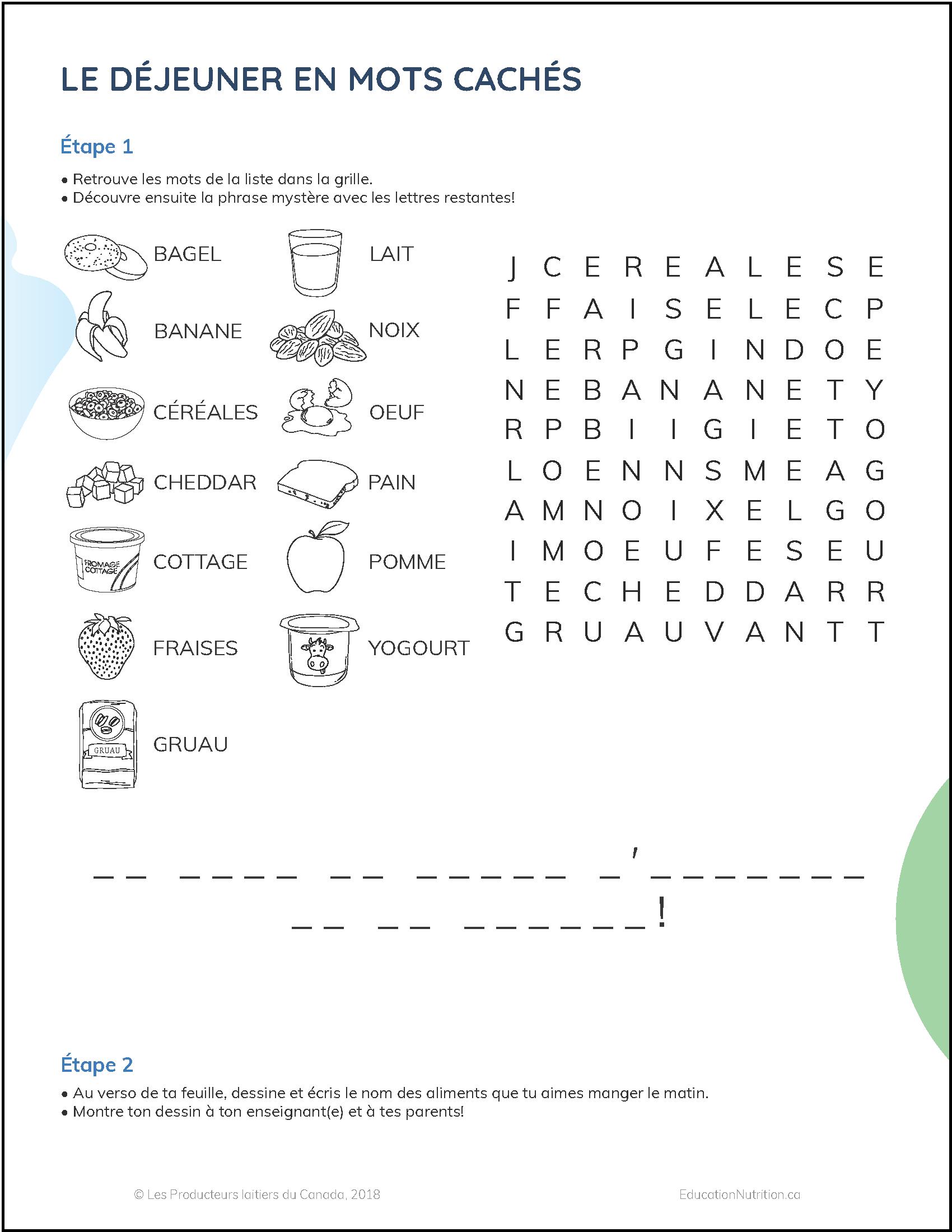 Le Déjeuner En Mots Cachés | Éducation Nutrition Québec tout Mots Mystere