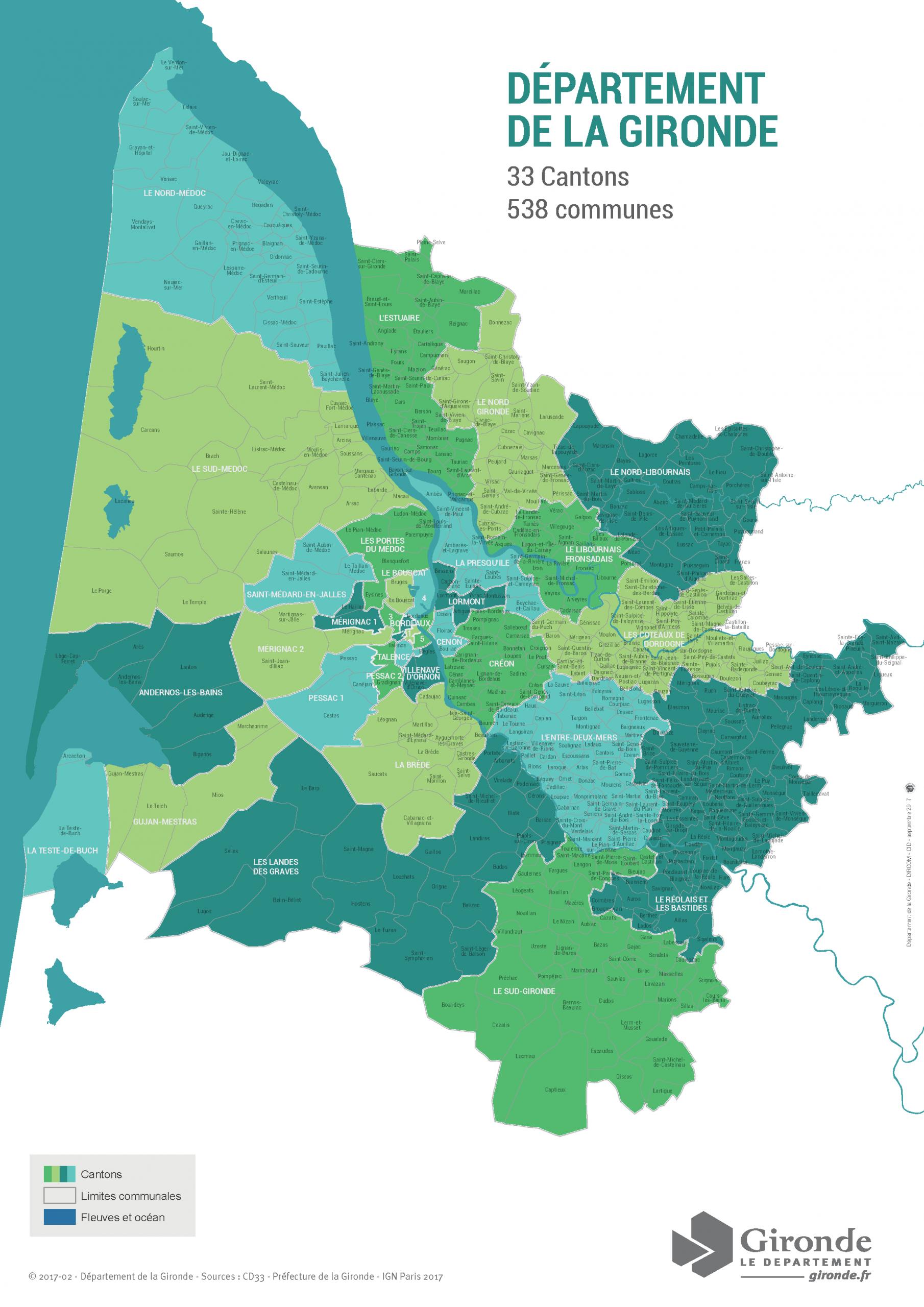 Le Département De La Gironde Lance Les Premiers Contrats De concernant Carte Des Départements Et Villes