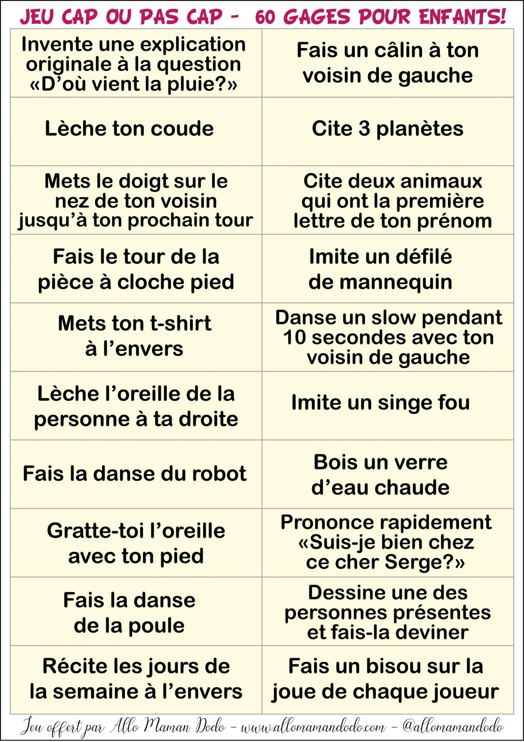 """Le Jeu """"cap Ou Pas Cap"""" À Imprimer ( 60 Gages Pour Enfants concernant Jeux De Mémoire À Imprimer Pour Adultes"""