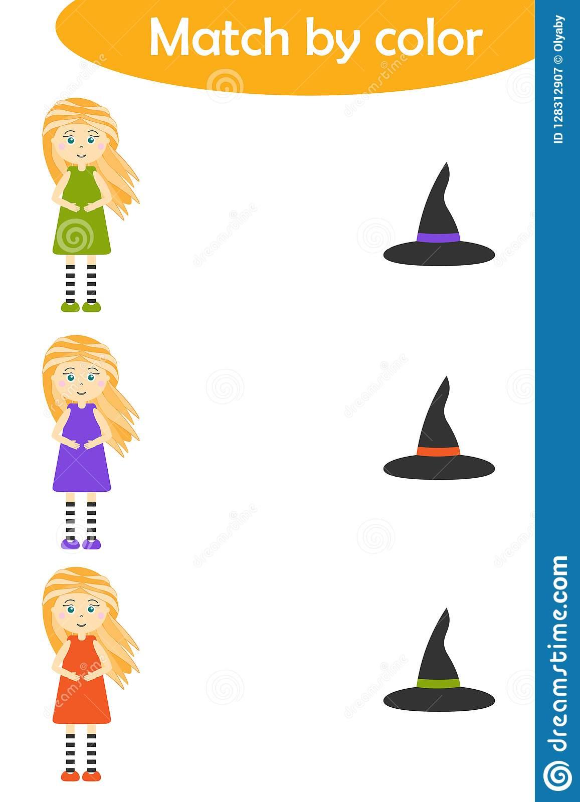 Le Jeu D'assortiment De Halloween Pour Des Enfants, Relient destiné Jeu Des Chapeaux
