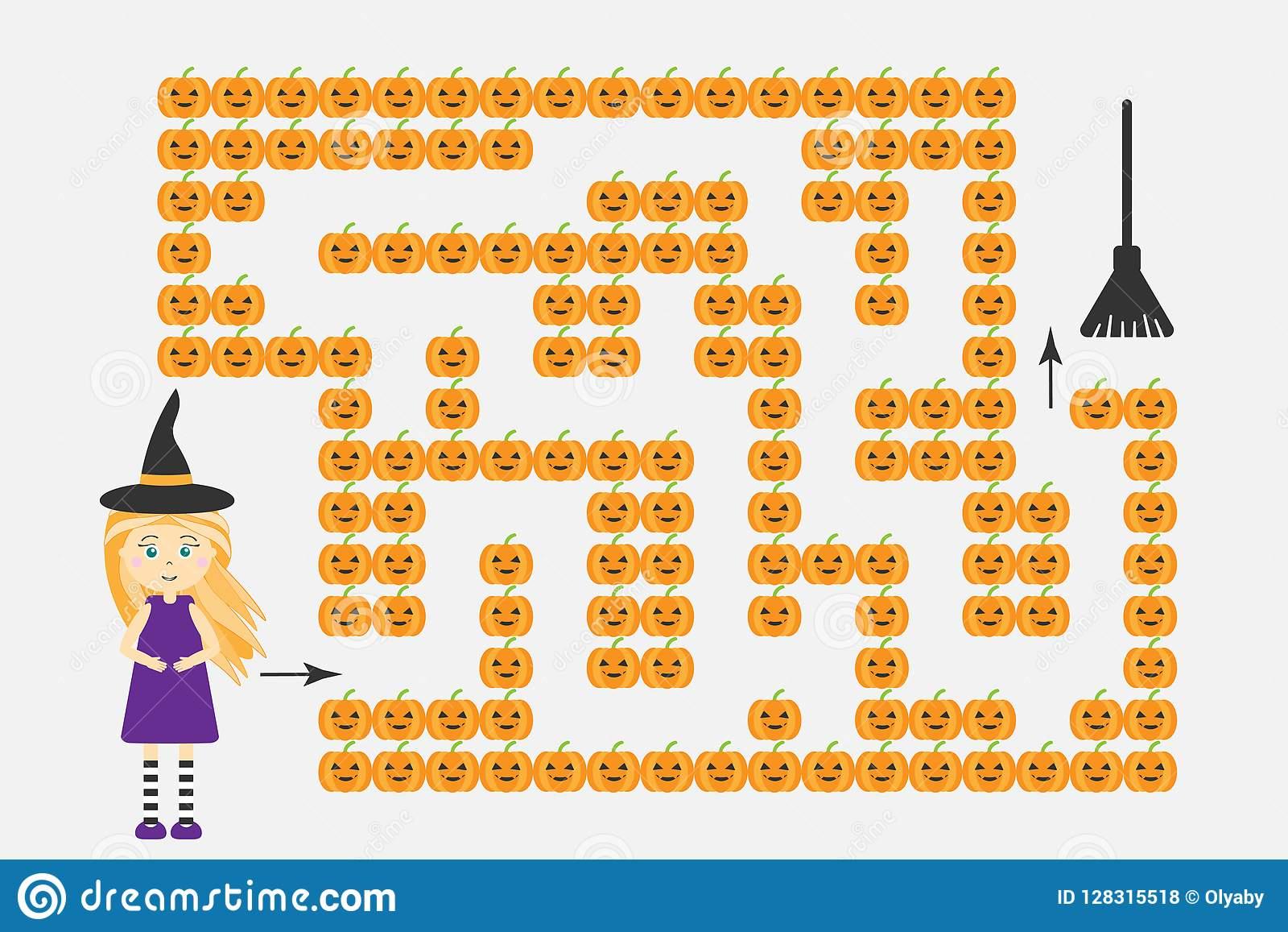 Le Jeu De Labyrinthe De Halloween, Aident La Sorcière À à Apprendre À Dessiner Halloween