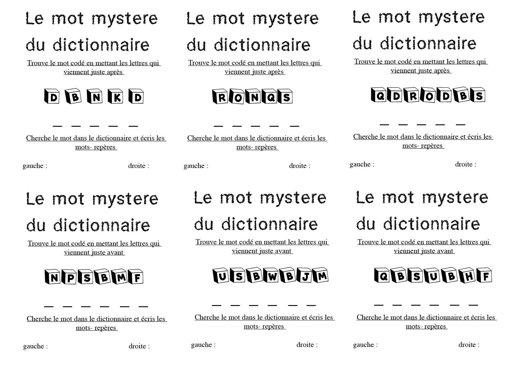 Le Mot Mystère Du Dictionnaire - La Classe De Calliplume dedans Mots Mystere
