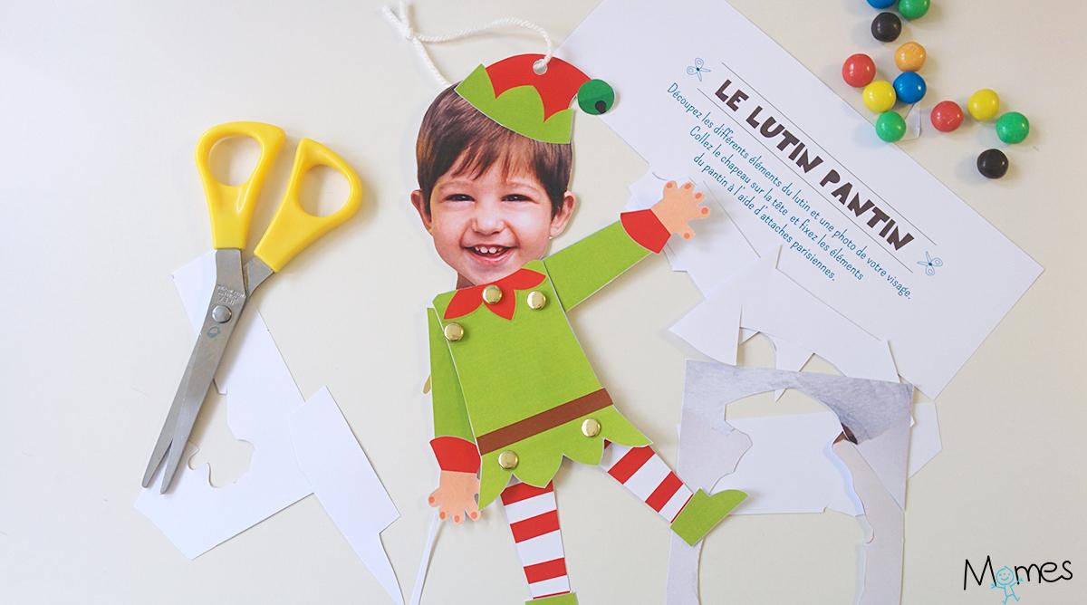 Le Pantin Lutin De Noël À Imprimer Et Personnaliser - Momes concernant Fabrication D Un Pantin Articulé