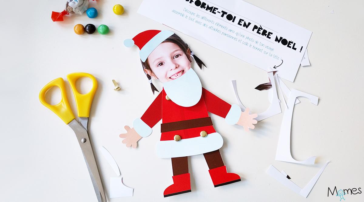 Le Pantin Père Noël À Imprimer Et Personnaliser - Momes concernant Pere Noel A Decouper