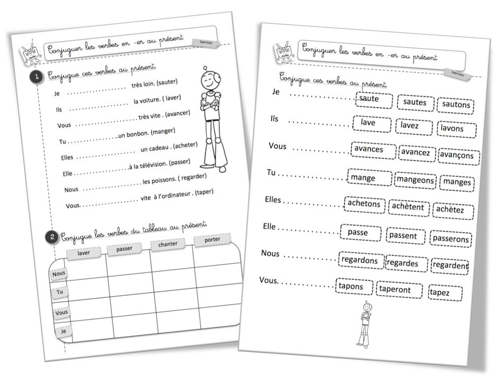 Le Présent Des Verbes En -Er : Exercice De Conjugaison concernant Exercice De Ce2 Gratuit