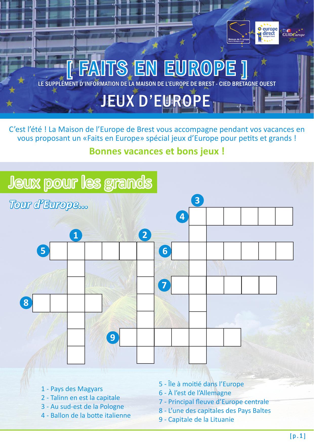 Le Supplément « Faits En Europe » Spécial Jeux D`europe avec Quiz Sur Les Capitales De L Union Européenne