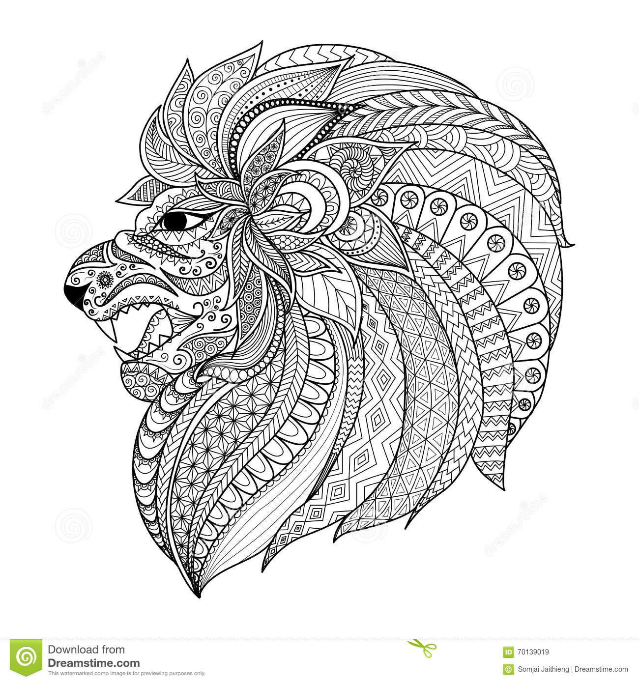 Le Zentangle Détaillé A Stylisé Le Lion Pour Le Graphique De concernant Coloriage Graphique