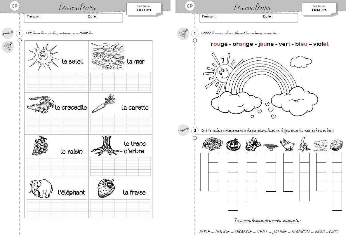 Lecture Cp - Les Couleurs - Cycle 2 ~ Orphéecolecycle 2 destiné Exercices De Cp À Imprimer
