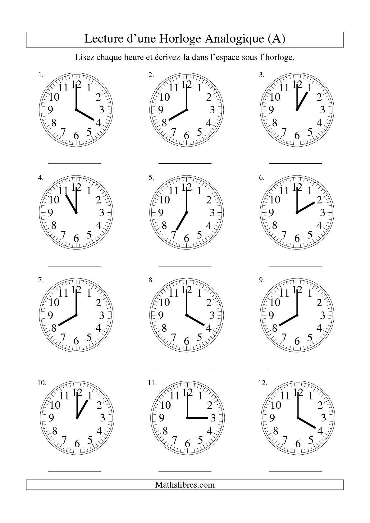 Lecture De L'heure Sur Une Horloge Analogique Avec 60 intérieur Exercice Pour Apprendre A Lire