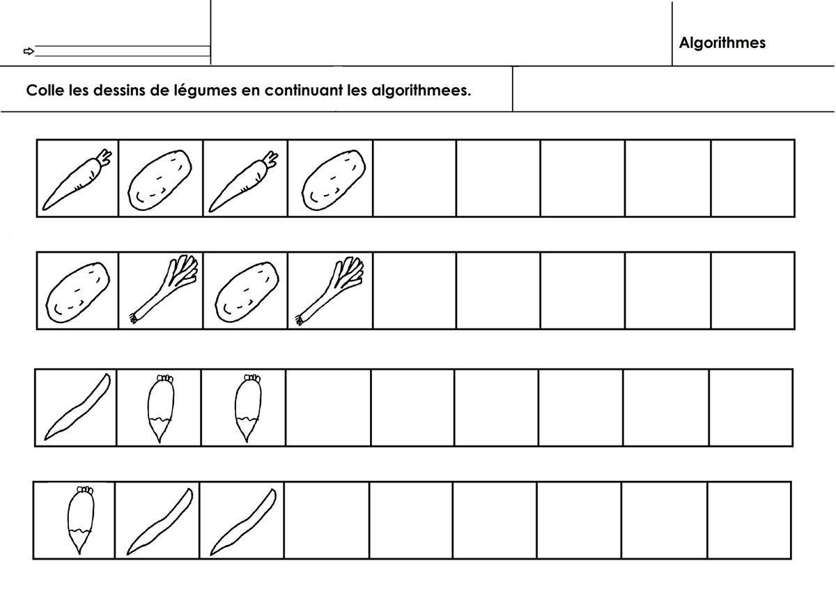 Légumes, Algorithmes Simples - École Maternelle Gellow dedans Évaluation Graphisme Ms