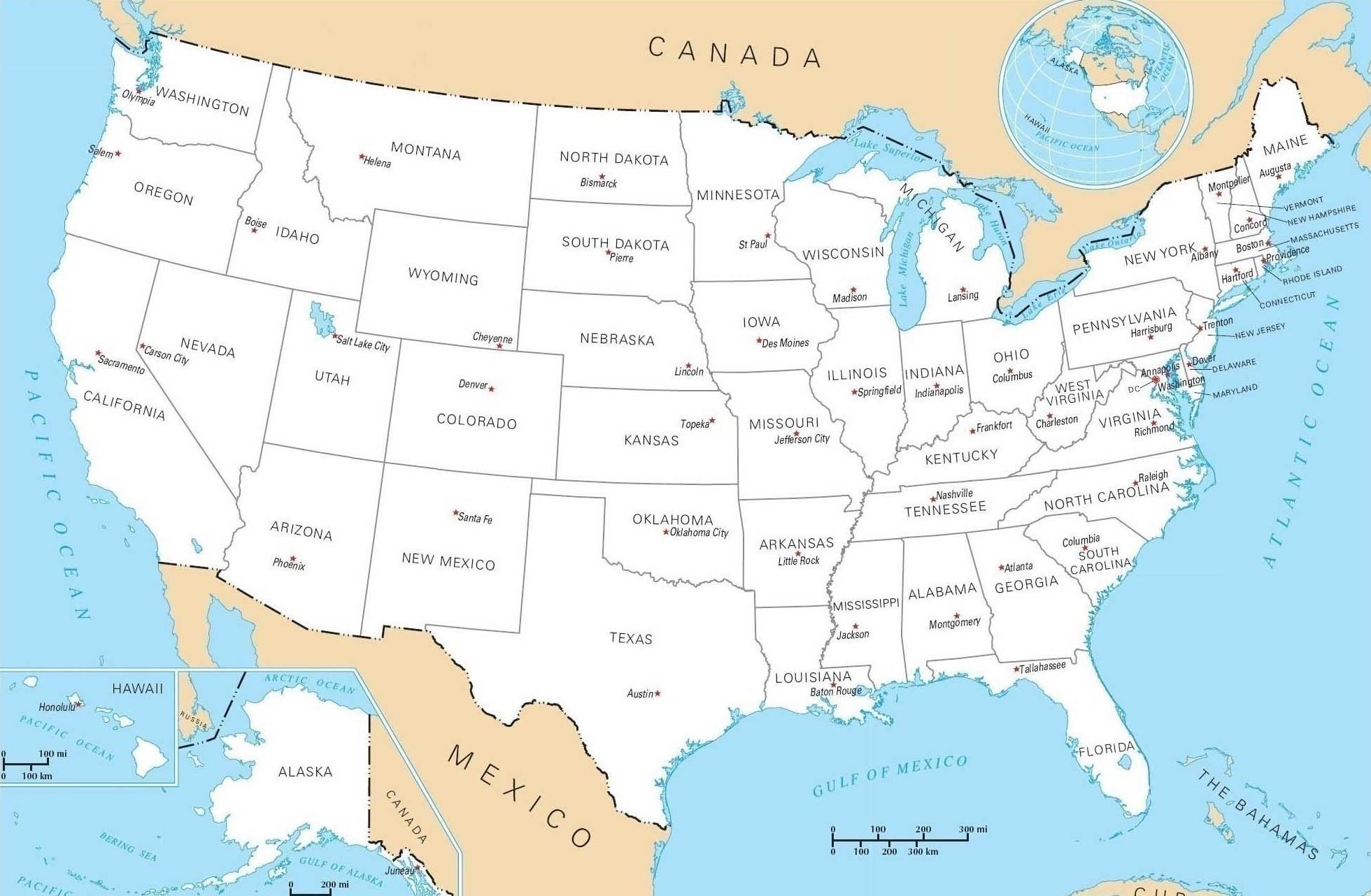 Les 50 États Des Usa tout Carte Du Monde Et Leur Capitale