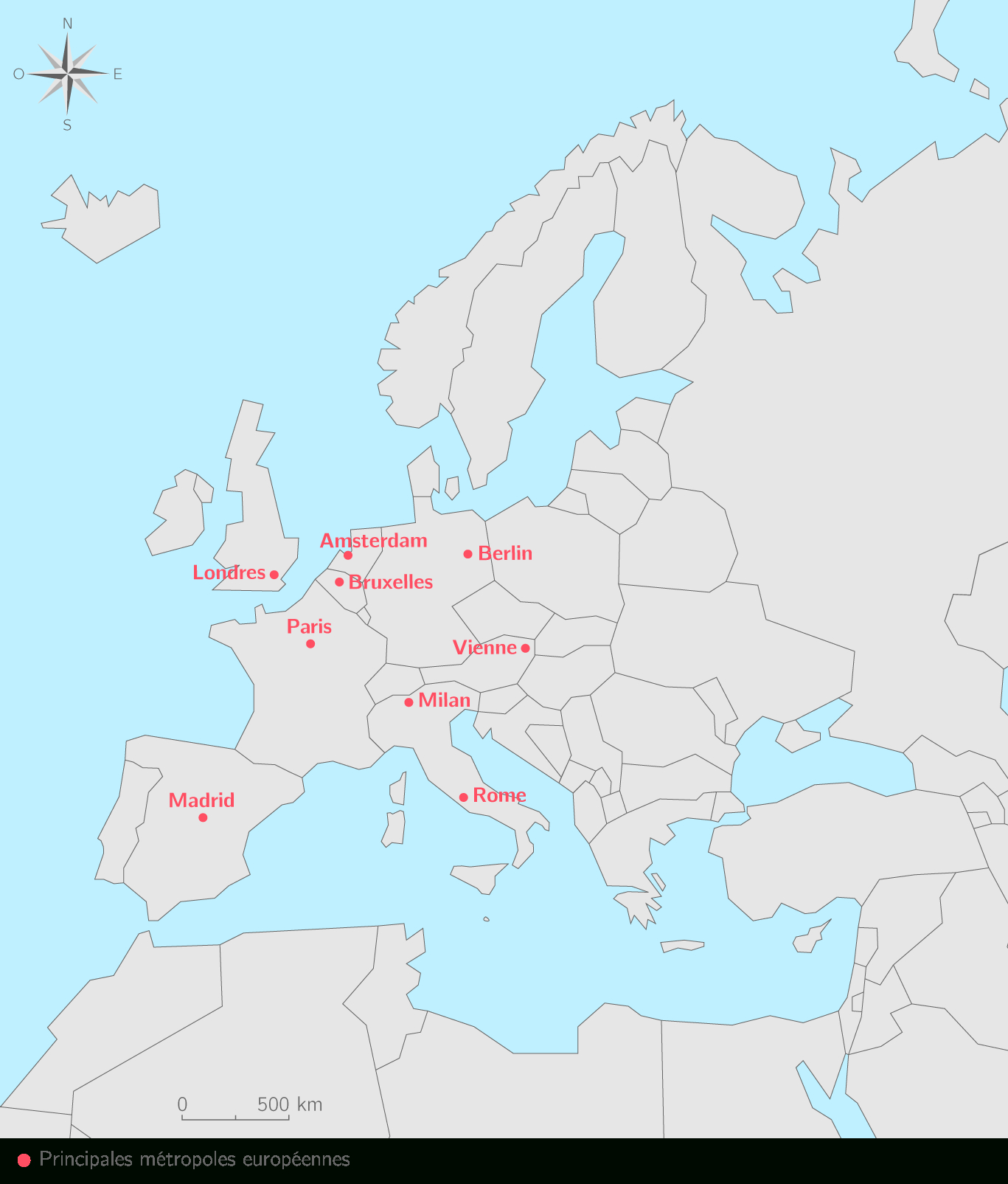 Les Dix Principales Métropoles De L'ue - 3E - Carte avec Liste Des Pays De L Union Européenne Et Leurs Capitales