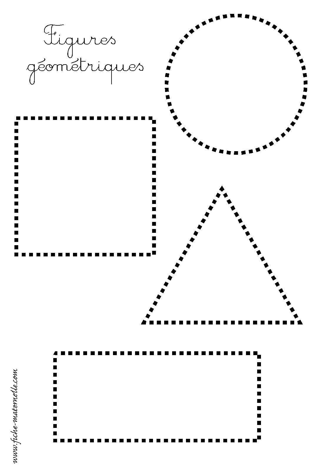 Les Figures Géométriques : Repasser Les Pointillés | Fiches intérieur Exercice De Graphisme Petite Section A Imprimer