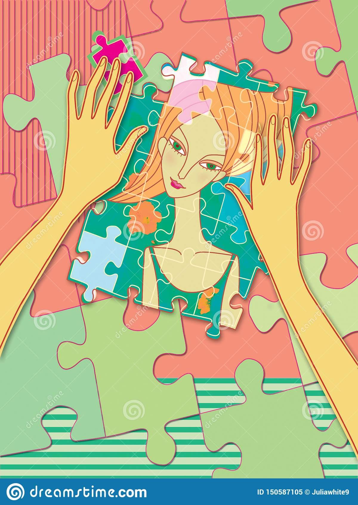 Les Mains Femelles Rassemblent Le Puzzle Avec Un Portrait D à Jeux De Fille Puzzle
