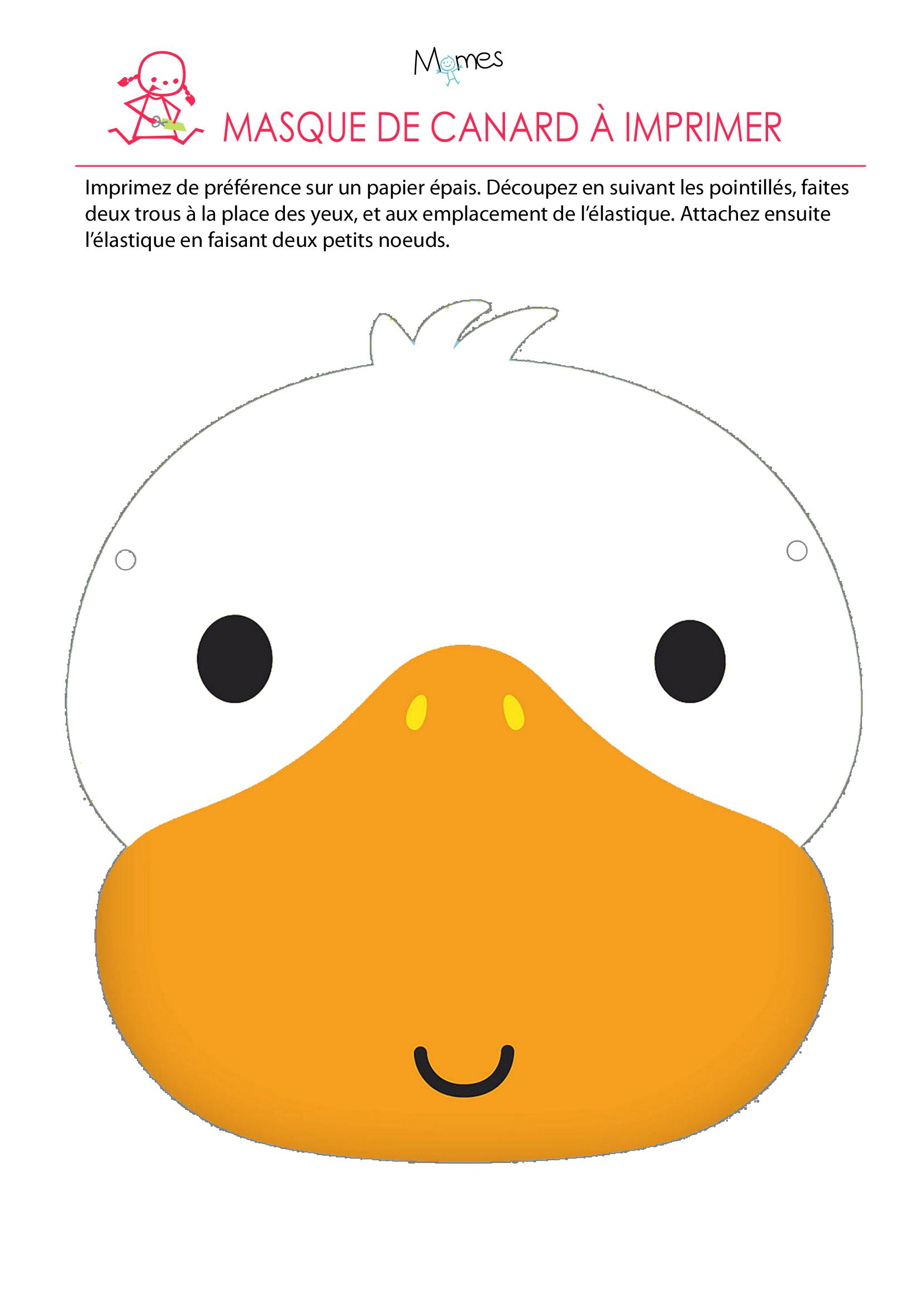 Les Masques Du Carnaval: Le Masque De Canard - Momes concernant Masque Carnaval Maternelle À Imprimer