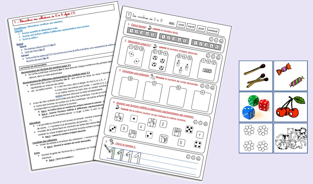 Les Maths Et Moi (Fichier Nombres Et Calculs Pour Cp) - Le à Exercice Cp A Imprimer