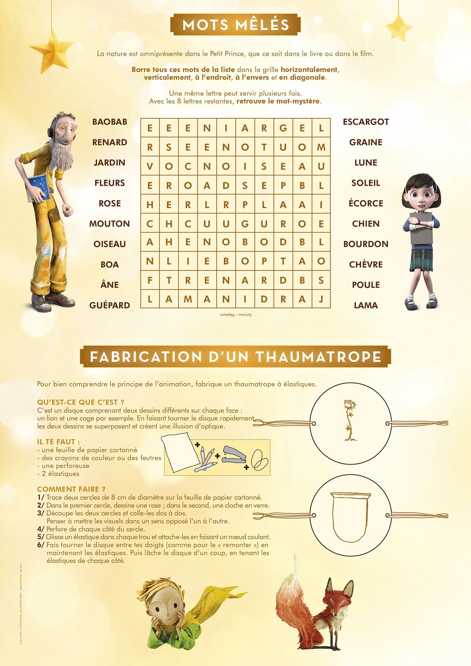 Les Mots Mêlés Du Petit Prince | Le Petit Prince, Jeux A pour Jeux Mot Mélé Gratuit
