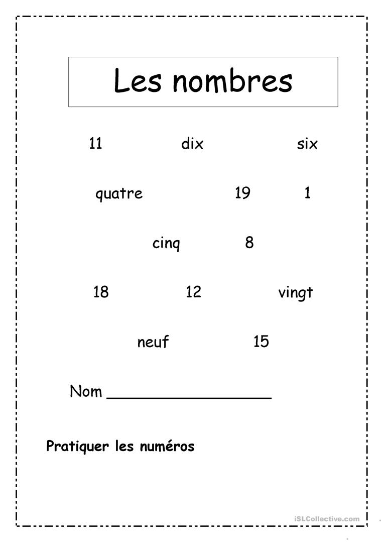 Les Nombres 1-20 - Français Fle Fiches Pedagogiques dedans Apprendre Les Chiffres En Français