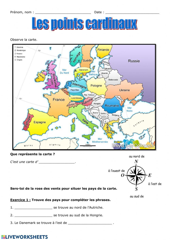 Les Points Cardinaux - Interactive Worksheet concernant Les 4 Point Cardinaux