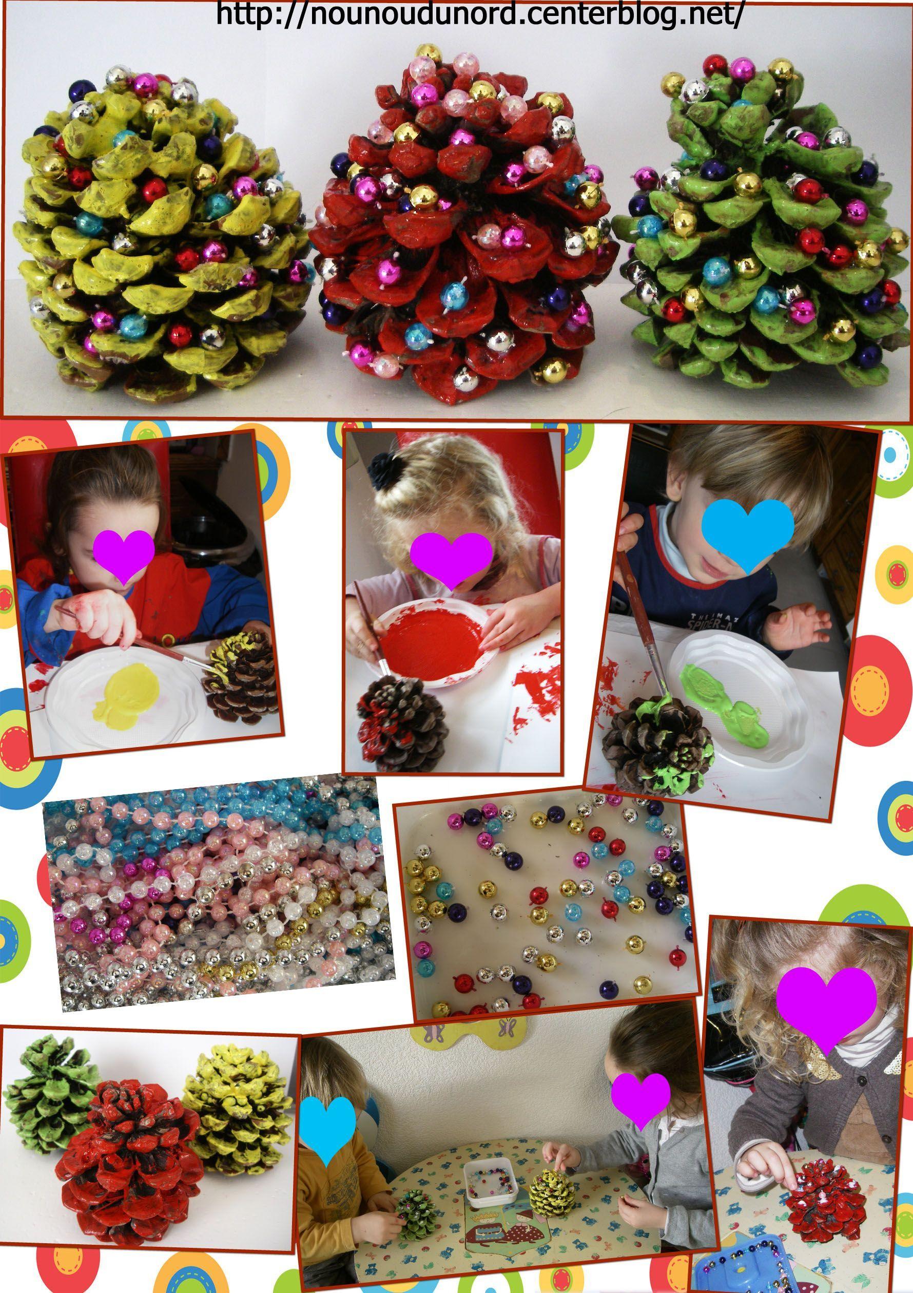 Les Pommes De Pin Des Enfants Décorées Pour Noël*2012* dedans Activités Manuelles Enfants Noel
