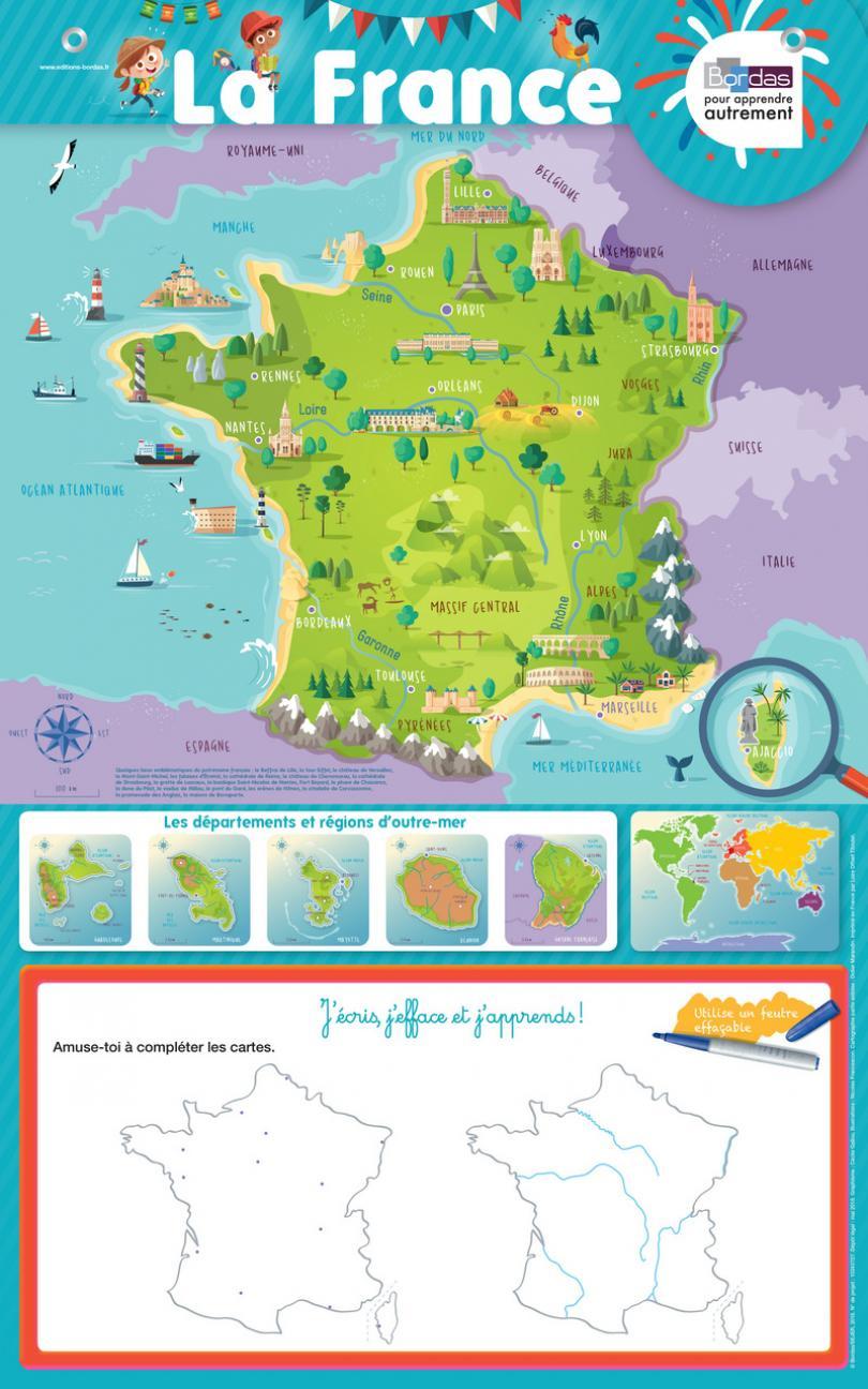 Les Posters-Ardoises - La France * Poster | Bordas Éditeur concernant Apprendre Carte De France