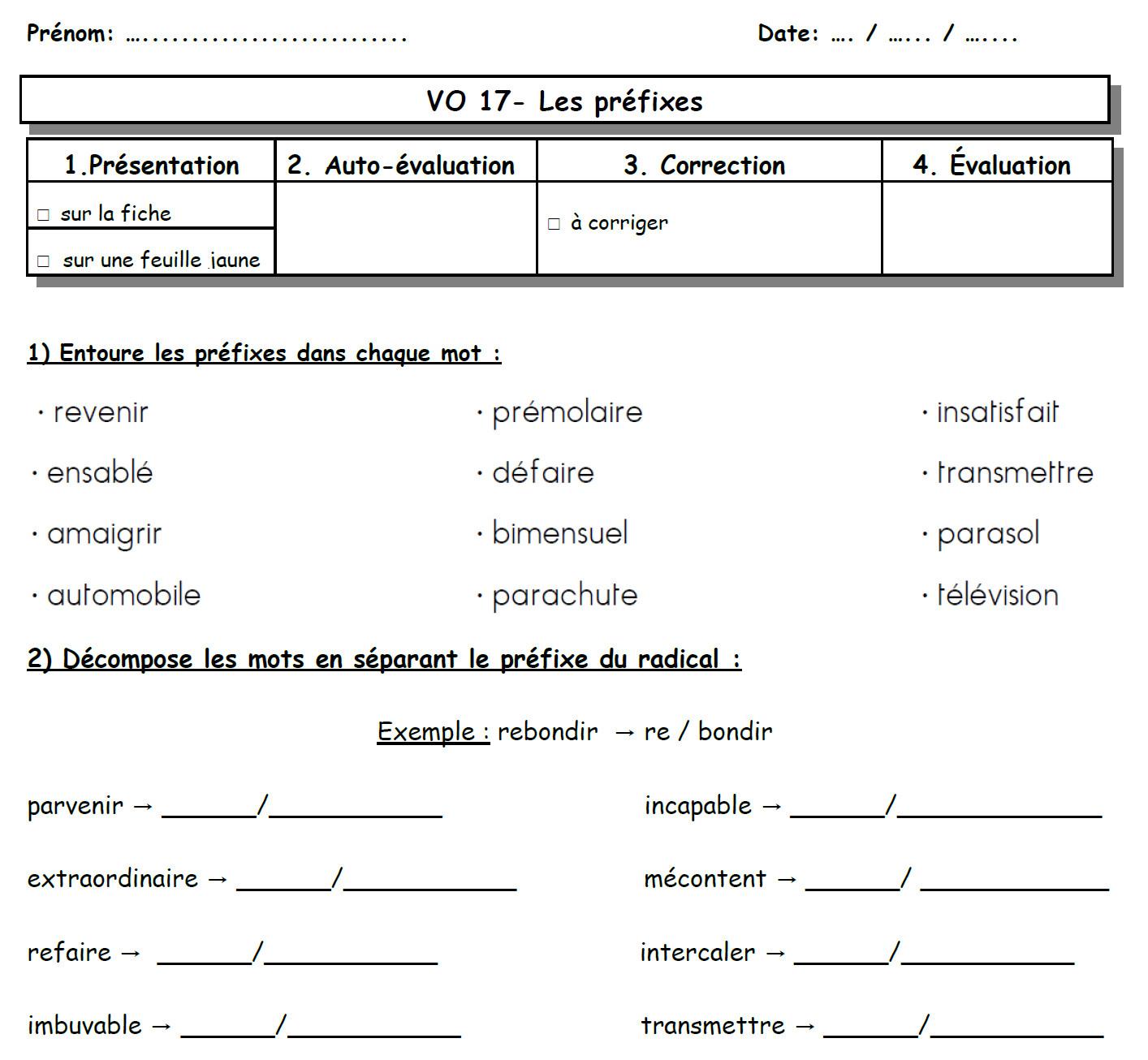 Les Préfixes - Les Ce2 De Mimi destiné Travaille Ce2 A Imprimer