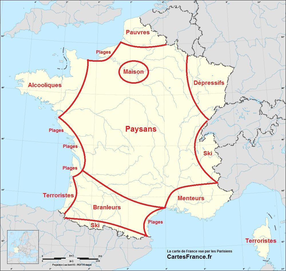 Les Régions Françaises Selon Les Parisiens, Toulousains Ou à La Carte De France Et Ses Régions