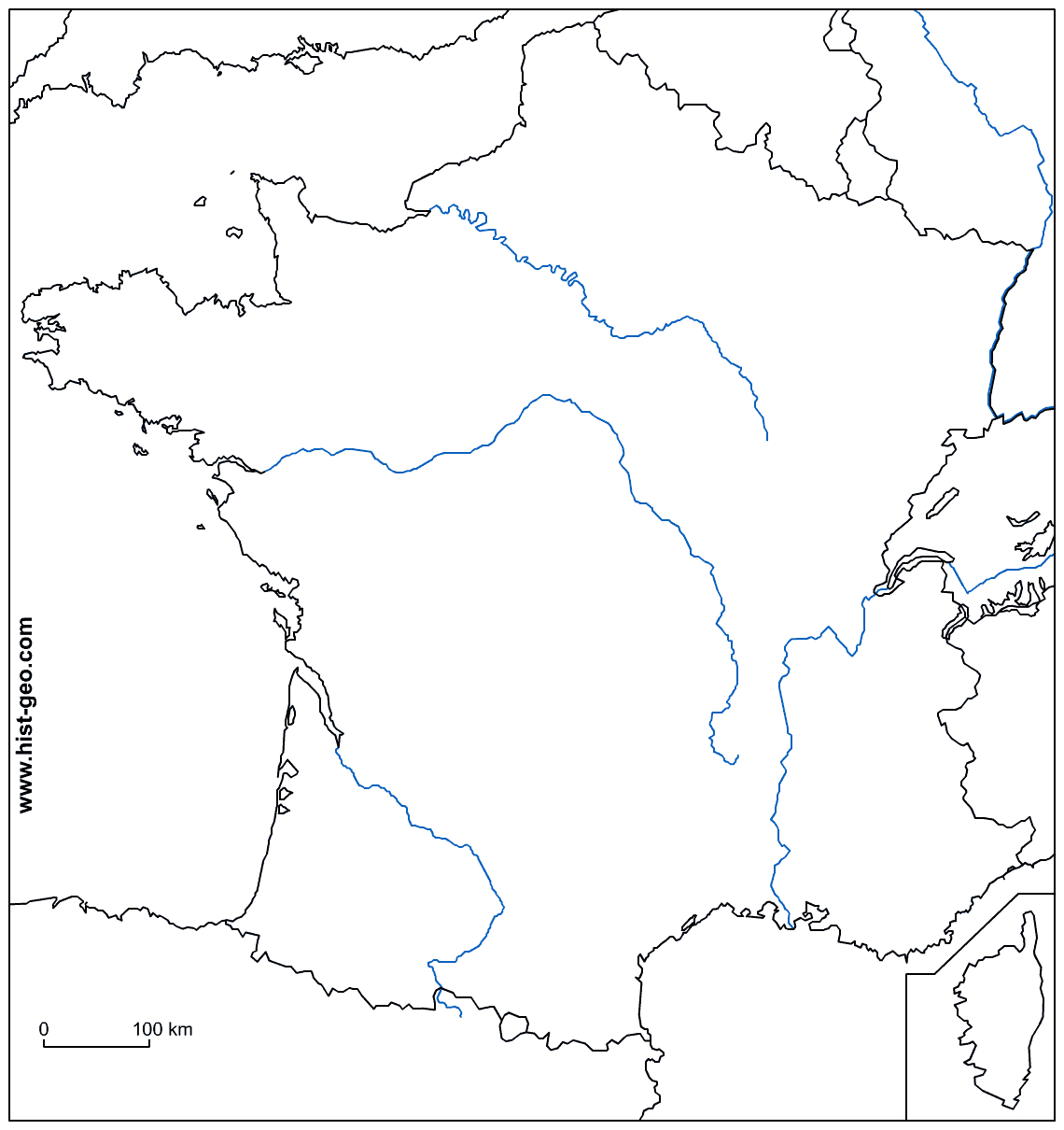 Les Repères De Géographie À Connaître En Fin De 3Ème à Carte De France Vierge A Imprimer