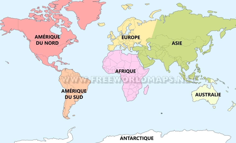 Les Sept Continents – Freeworldmaps tout Carte Du Monde Avec Continent