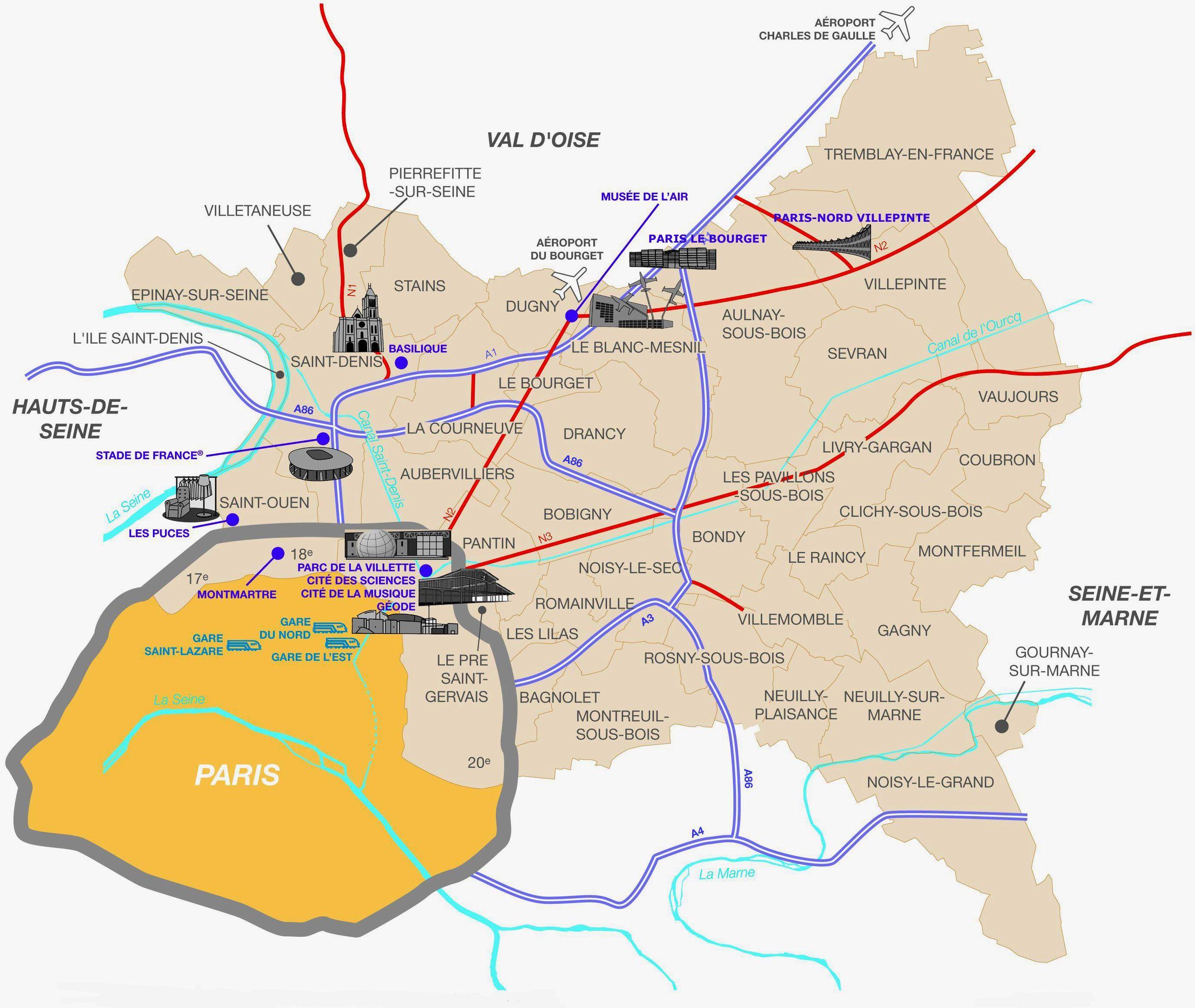 Les Villes De Seine-Saint-Denis : Toutes Les Communes dedans Carte Des Départements Et Villes
