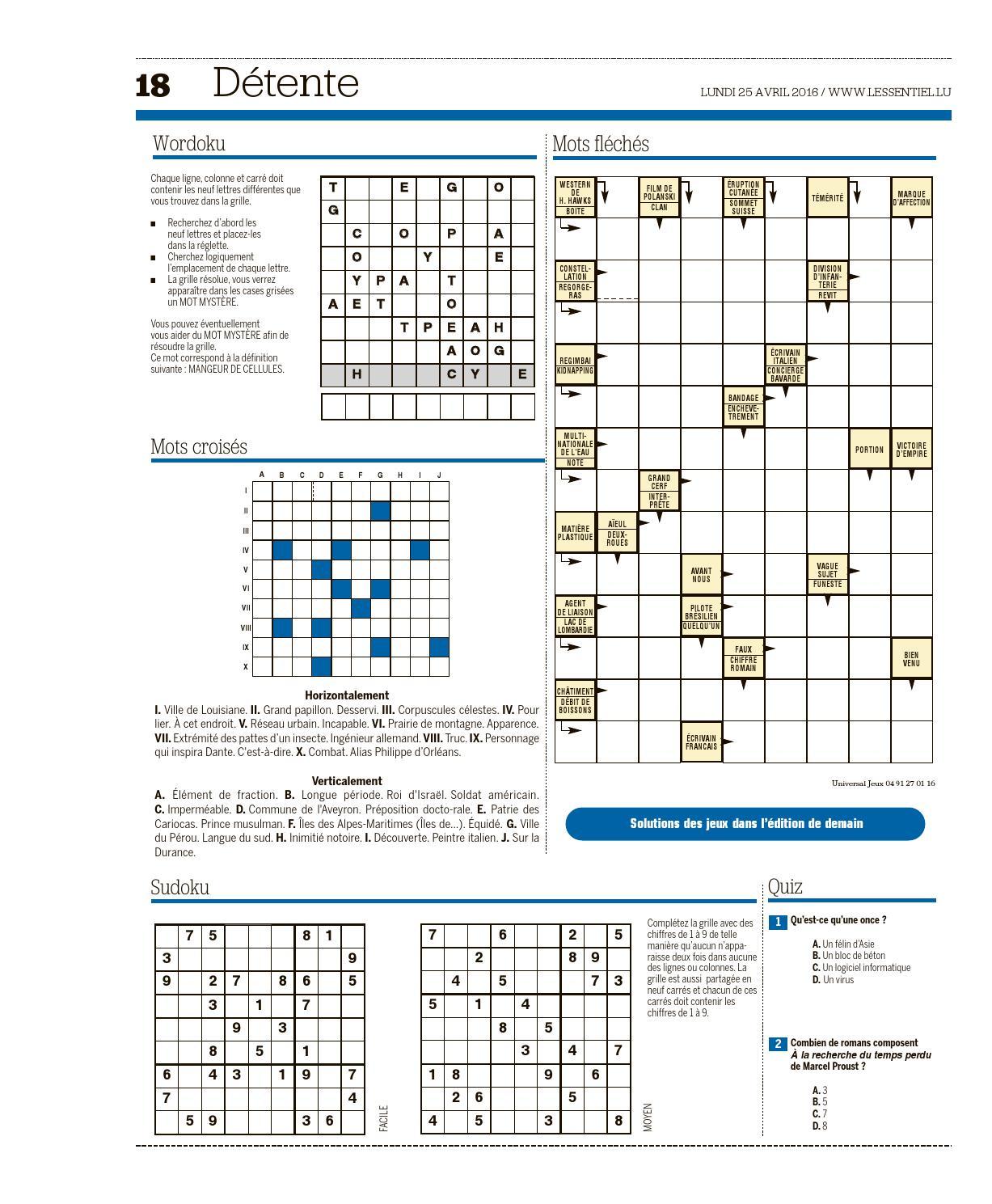 L'essentiel Epaper 2016-04-25 By L'essentiel - Issuu destiné Mot Fléché Facile