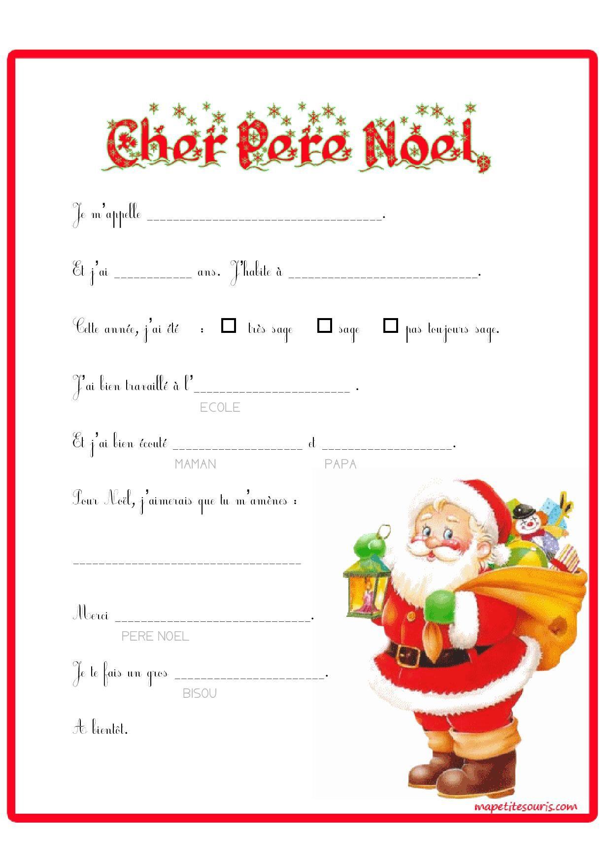 Lettre Au Père Noel À Compléter. Super Pour Petits De avec Papier À Lettre Père Noel À Imprimer Gratuitement