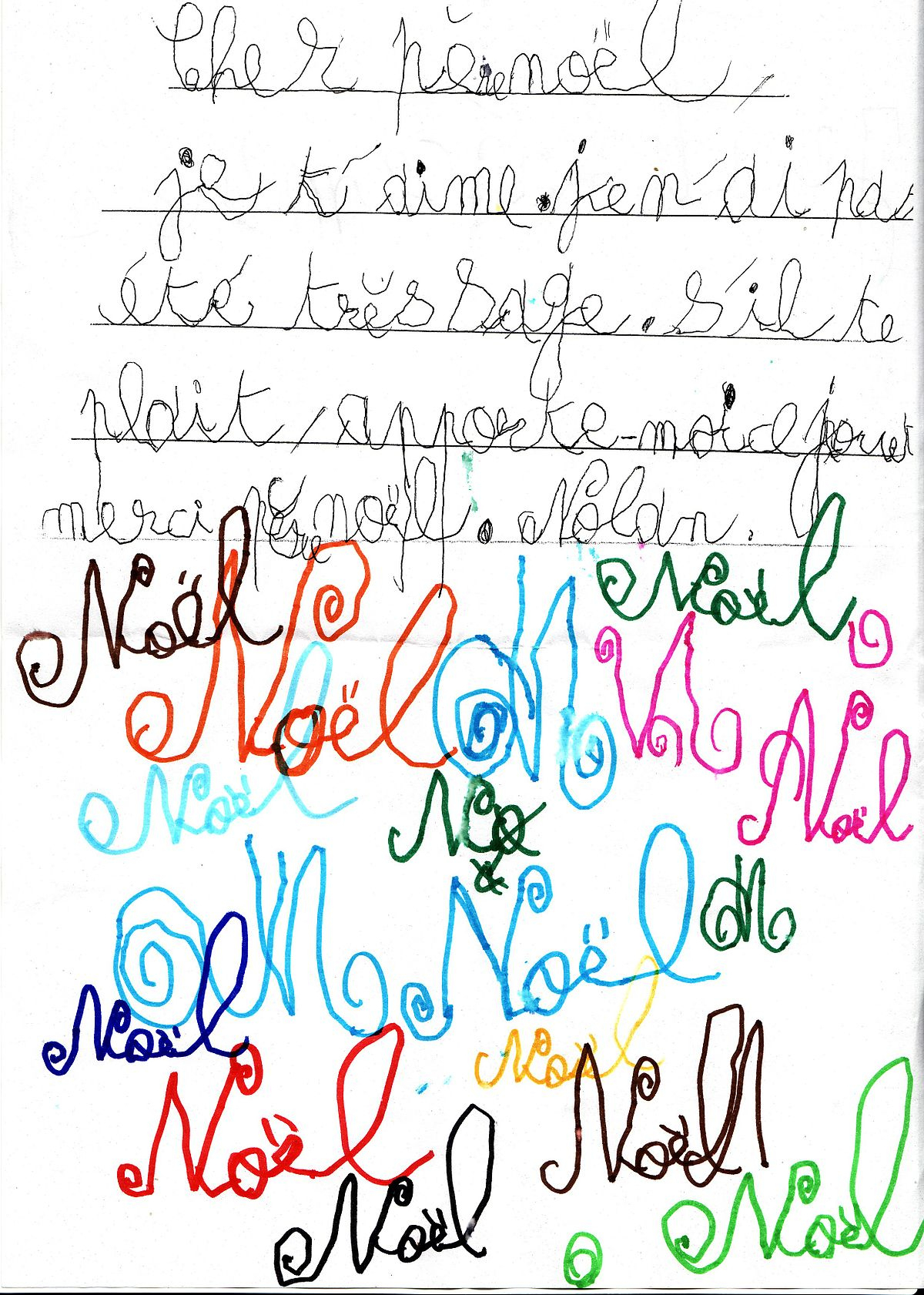 Lettre Au Père Noël — Wikipédia à Ecriture De Noel A Imprimer
