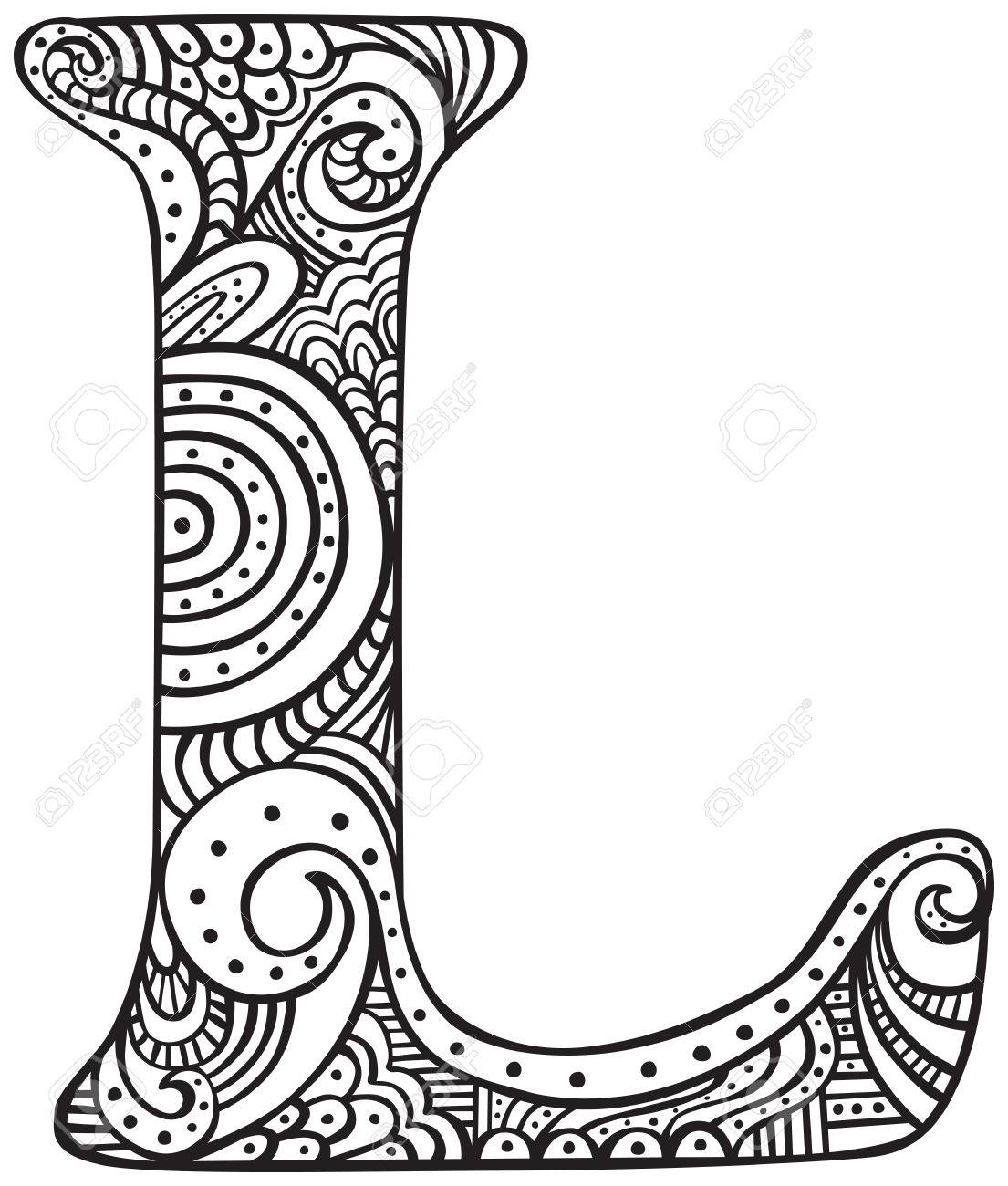 Lettre Majuscule L Dessiné Main En Noir - Feuille À Colorier Pour Adultes concernant Feuille A Colorier