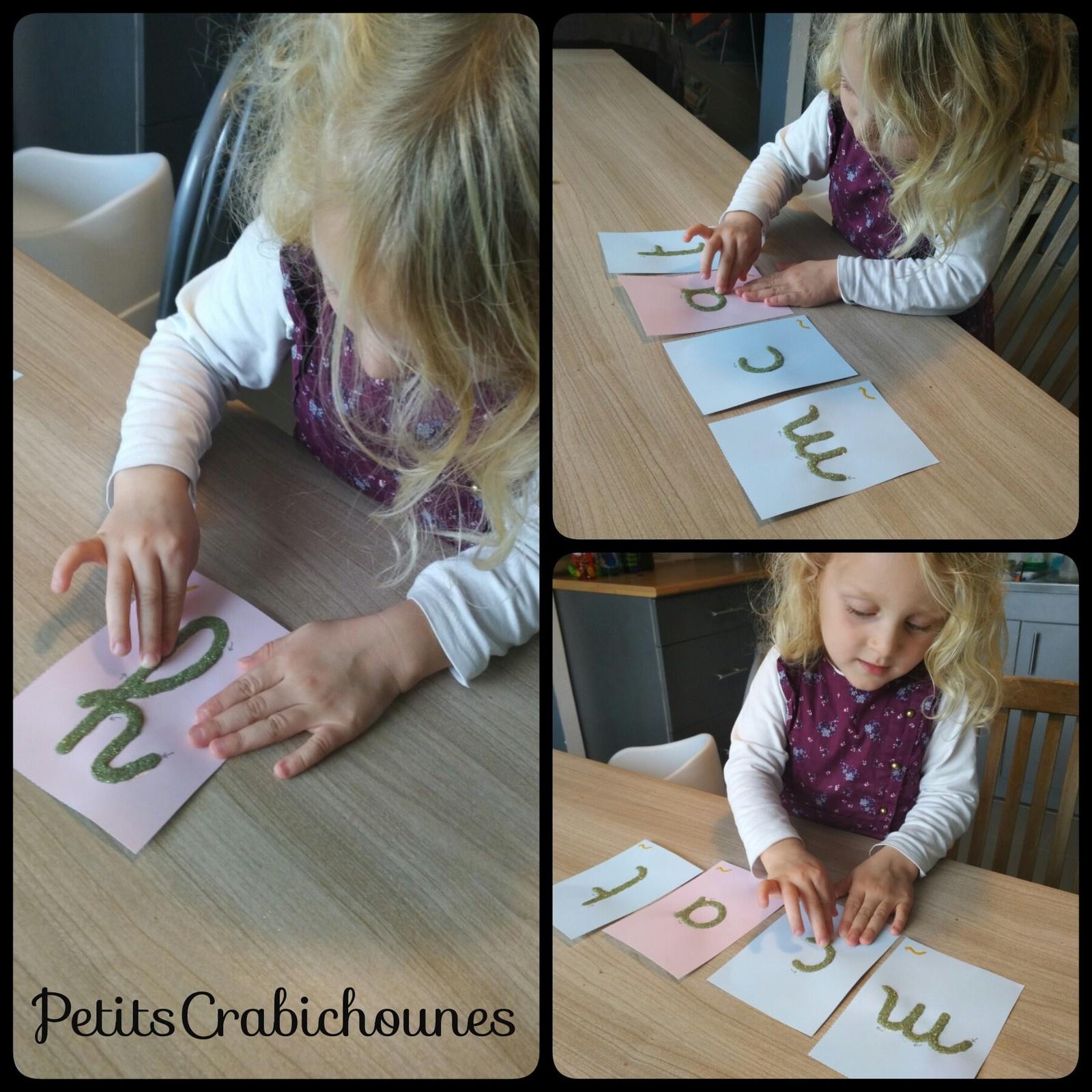 Lettres Rugueuses Cursives Montessori À Imprimer Et pour Lettres En Pointillés À Imprimer