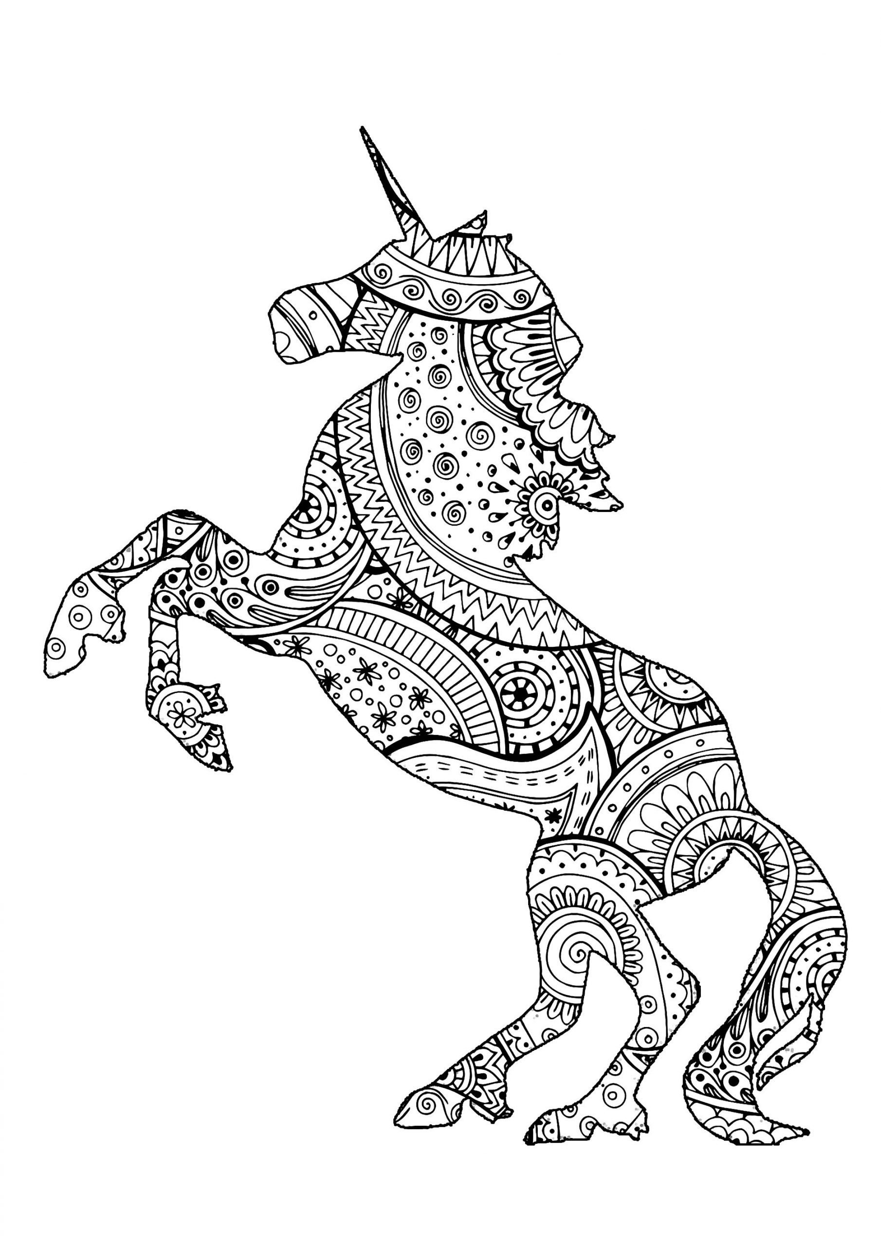 Licorne Avec Motifs Zentangle Et Paisley - Licornes dedans Jeux De Coloriage Licorne