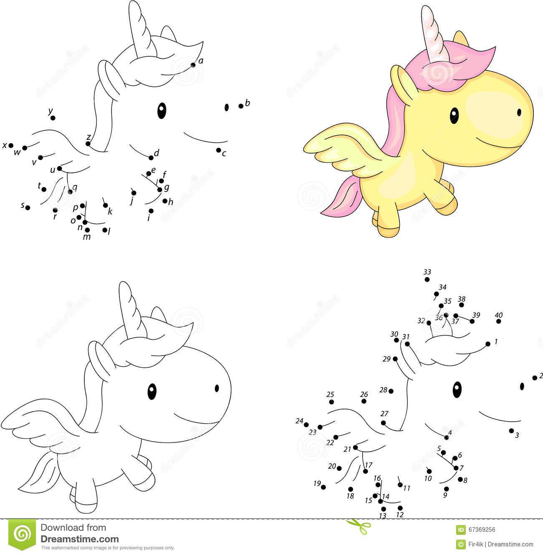 Licorne De Bande Dessinée Livre De Coloriage Et Point Pour destiné Jeux De Coloriage Licorne